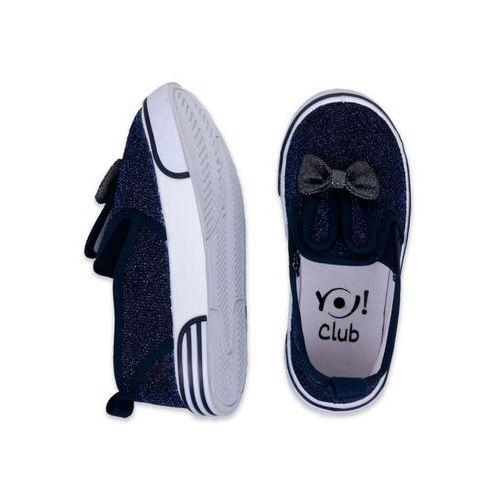 Buty sportowe dla dzieci, Trampki granatowe królik z kokardą 23