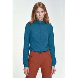 Lazurowa Bluzka Koszulowa ze Stójką