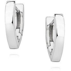 Eleganckie rodowane srebrne gładkie klasyczne kolczyki litera V srebro 925 KS0254E