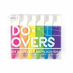 OOLY DO-OVERS Dustronne Flamastry Zakreślacze, Wycieralne, Neonowe. 6 sztuk