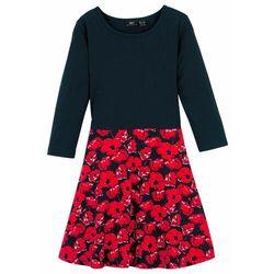 Sukienka dziewczęca z dżerseju, rękawy 3/4, bawełna organiczna bonprix czarno-truskawkowy