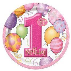 Talerzyki na roczek 1st Birthday Baloniki Pink - 23 cm - 8 szt