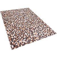 Dywany, Dywan - brązowo-beżowy - skóra - patchwork - 160x230 cm - KONYA