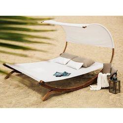 Leżak ogrodowy z drewna modrzewiowego - beżowy TERAMO