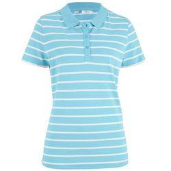 Shirt polo w paski, krótki rękaw bonprix niebieski topaz - biały w paski
