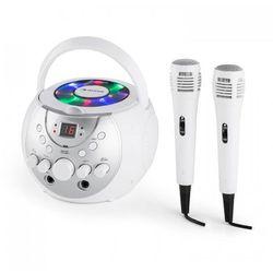 SingSing Przenośny zestaw karaoke LED Zasilanie bateryjne 2 x mikrofon kolor biały
