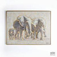 Obrazy, Obraz ręcznie malowany - Rodzina słoni 102415