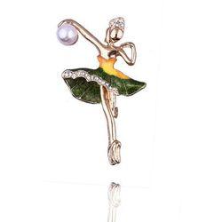 Broszka damska baletnica z perłą zielona - zielony ||żółty