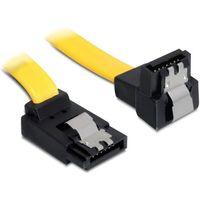 Kable, adaptery, taśmy, Delock Kabel SATA III 6Gb/s 50cm kątowy góra/dół (metalowe zatrzaski) żółty
