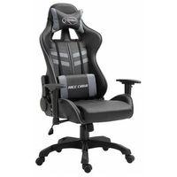 Fotele dla graczy, Szary fotel dla graczy z regulacją podłokietników - Gamix