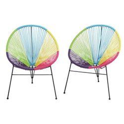 Zestaw 2 krzeseł ogrodowych ALIOS II – włókno technorattanowe – wielokolorowe
