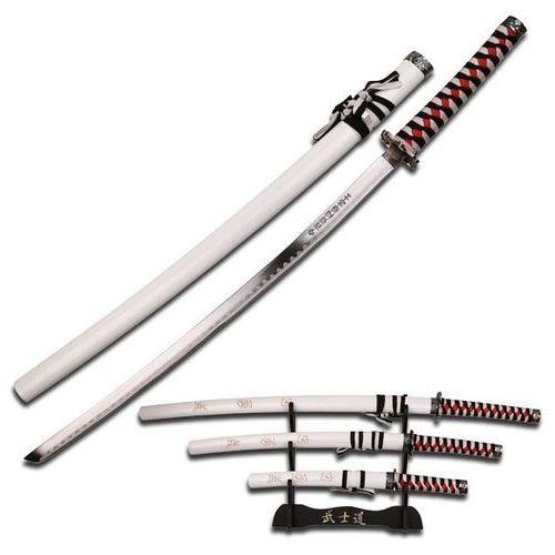 Broń treningowa, ZESTAW BIAŁYCH MIECZY SAMURAJSKICH, ZE STOJAKIEM (SW-68LWH4)