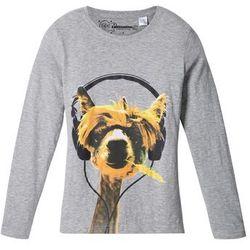 Shirt z długim rękawem i zabawnym motywem zwierzątka bonprix jasnoszary melanż z nadrukiem