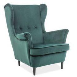 Fotel wypoczynkowy USZAK - Signal Velvet LORD - zielony tap. 78