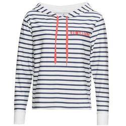 Bluza z kapturem bonprix biało-ciemnoniebiesko-czerwony w paski