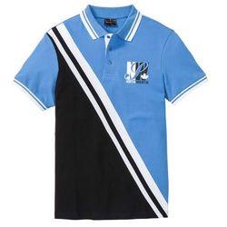 Shirt polo w sportowym stylu bonprix czarno-biało-niebieski z nadrukiem