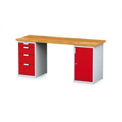 Stoły warsztatowe, Stół warsztatowy MECHANIC, 2000x700x880 mm, 1x 4 szufladowy kontener, 1x szafka, szary/czerwony