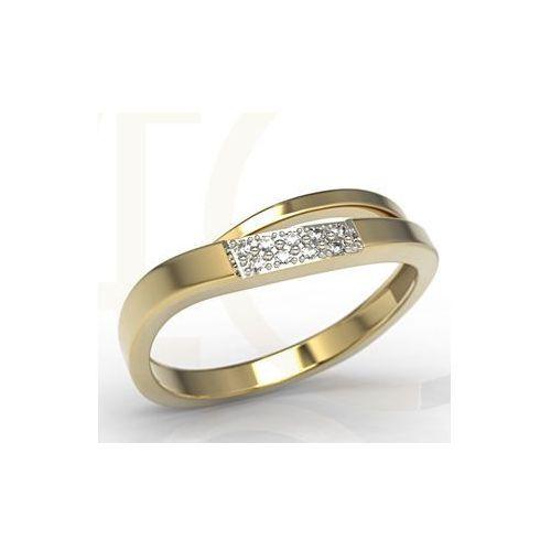 Pierścionki i obrączki, Pierścionek z żółtego złota z cyrkoniami LP-97Z-R-C - Żółte z rodowaniem \ Cyrkonia