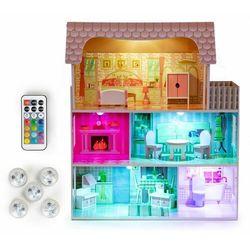 Drewniany domek dla lalek, z oświetleniem LED, mebelki w zestawie darmowa dostawa