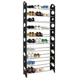 Regał na buty z metalowymi 10 półkami szafka czarno-szara