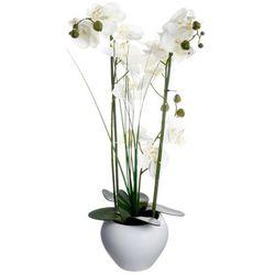 Sztuczna orchidee w ceramicznej doniczce, uniwersalna dekoracja, sztuczne kwiaty, ozdoba pokoju i biura