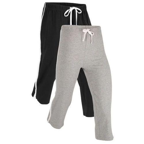 Pozostała odzież sportowa, Rybaczki sportowe ze stretchem (2 pary), dł. 3/4, Level 1 bonprix czarny + jasnoszary melanż