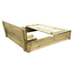 TRIGANO Drewniana piaskownica 120 ALIX z ławkami - BEZPŁATNY ODBIÓR: WROCŁAW!