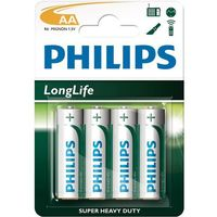 Baterie, 4 x bateria cynkowo-węglowa Philips LongLife R6 AA (blister)