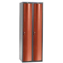 Szafa szatniowa Curve 2 sekcje 2 drzwi 1740x600x550 mm czerwony metalik