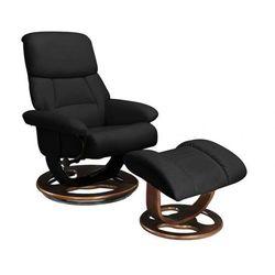 Fotel wypoczynkowy z podnóżkiem MYOSOTIS - Czarny