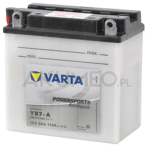 Akumulatory do motocykli, Akumulator VARTA Powersports YB7-A 12V 8Ah 110A lewy+ oL