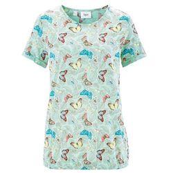 Shirt z krótkim rękawem, z przędzy mieszankowej bonprix jasny miętowy z nadrukiem