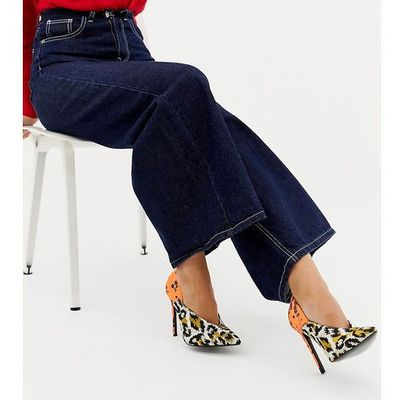 0318fe65bde ASOS DESIGN Wide Fit Putty pointed high heeled court shoes in leopard  floral print - Multi