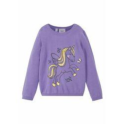 Sweter bawełniany dziewczęcy bonprix jasny lila