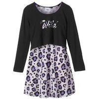 """Zestawy odzieżowe dziecięce, Sukienka + shirt """"boxy"""" (2 części) bonprix czarno-fiołkowy"""