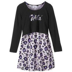 """Sukienka + shirt """"boxy"""" (2 części) bonprix czarno-fiołkowy"""