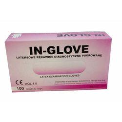 Rękawice lateksowe, pudrowane, gładkie, białe, niejałowe IN GLOVE rozmiar XS opakowanie 100 szt.