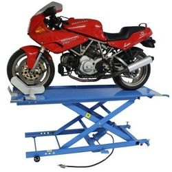Podnośnik motocyklowy krzyżakowy hydrauliczno - pneumatyczny 450 kg