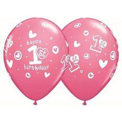 Balony z nadrukiem 1st Happy Birthday różowe - 30 cm - 5 szt.