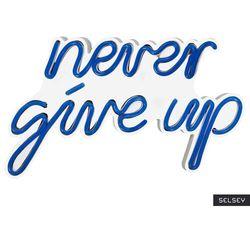 SELSEY Neon na ścianę Letely z napisem Never Give Up niebieski