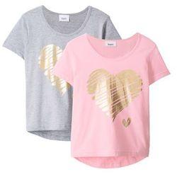 T-shirt (2 szt.) bonprix jasnoszary melanż + pudrowy jasnoróżowy