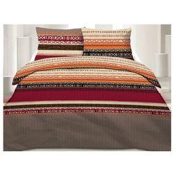 Pościel 100% bawełny INDIRA - 240x260 cm + 2 poszewki na poduszkę 65 x 65 - Kolor czerwony, pomarańczowy i brązowy