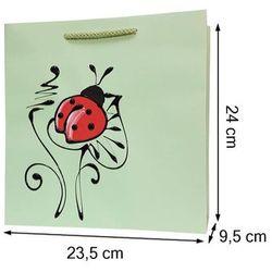 Torebka ozdobna prezentowa ręcznie malowana 24x23 - biedronka
