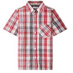 Koszula z krótkim rękawem i nadrukiem bonprix szaro-ciemnoczerwony w kratę