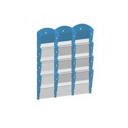 Plastikowy uchwyt ścienny na ulotki - 3x4 A5, niebieski