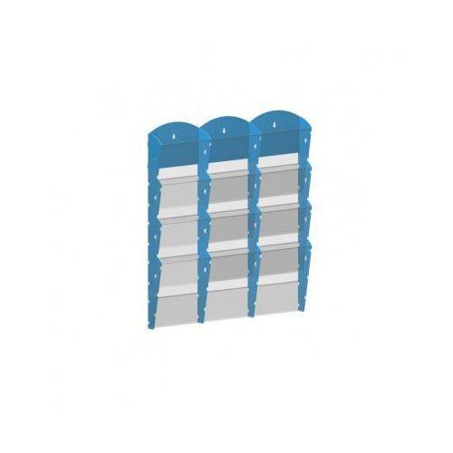 Ramy,stojaki i znaki informacyjne, Plastikowy uchwyt ścienny na ulotki - 3x4 A5, niebieski