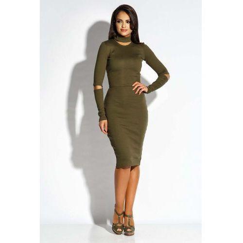 Suknie i sukienki, Oliwkowa Sukienka Ołówkowa z Wycięciami