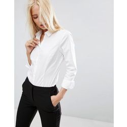 ASOS DESIGN long sleeve shirt in stretch cotton - White