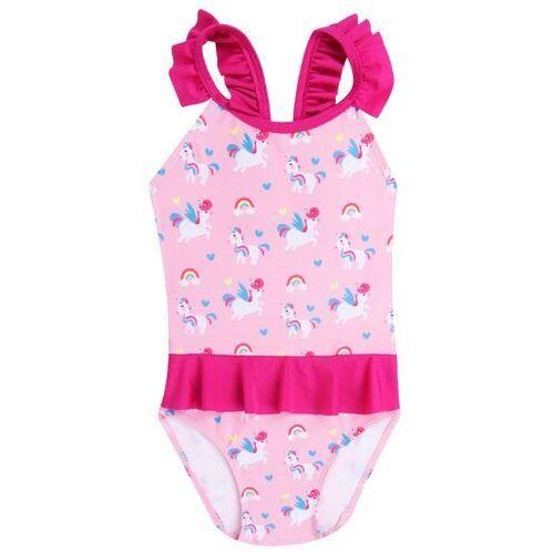 Stroje kąpielowe dziecięce, Kostium kąpielowy jednoczęściowy dziewczęcy różowy w jednorożce 104-110