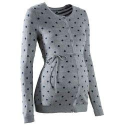Sweter ciążowy rozpinany w kropki bonprix szary melanż - ciemnoniebieski w kropki